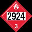 UN 2924 Class 3<br />FLAMMABLE LIQUID<br />4-Digit Placard<br />Removable Vinyl, 50/Pack