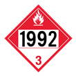UN 1992 Class 3<br />COMBUSTIBLE LIQUID<br />4-Digit Placard<br />Laminated Placard, 50/Pack