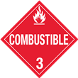 Class 3<br />COMBUSTIBLE LIQUID<br />Worded Placard<br />Laminated Tagboard, 50/Pack