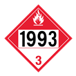 UN 1993 Class 3<br />COMBUSTIBLE LIQUID<br />4-Digit Placard<br />Laminated Tagboard, 50/Pack