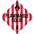 Class 4<br />FLAMMABLE SOLID<br />Worded Placard<br />Laminated Tagboard, 50/Pack
