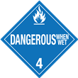 Class 4<br />DANGEROUS WHEN WET<br />Worded Placard<br />Laminated Tagboard, 50/Pack
