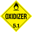Class 5<br />OXIDIZER<br />Worded Placard