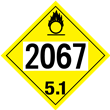 UN 2067 Class 5<br />OXIDIZER<br />4-Digit Placard<br />Removable Vinyl, 50/Pack