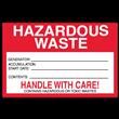 "Hazardous Waste<br />Accumulation Label<br />Tyvek® w/perm adhesive<br />6"" x 4"" Label, 500/roll"