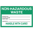 "Non-Hazardous Waste<br />Accumulation Label<br />Tyvek® w/perm adhesive<br />6"" x 4"" Label, 500/roll"