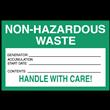 "Non-Hazardous Waste<br />Accumulation Label<br />Tyvek® w/perm adhesive<br />6"" x 4"" Label, 500/roll"
