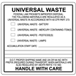 """Universal Waste Label<br />PVC-free Poly<br />4"""" x 4"""", 500/roll"""