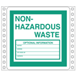 "Blank<br />Non-Hazardous Waste Label<br />Perm adhesive<br />6"" x 6"", pinfeed, 1,000/bx"