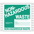 """Non-Hazardous Waste Label<br />w/Generator Info, Ruled<br />Tyvek® w/perm adhesive<br />6"""" x 6"""", pinfeed, 1,000/Bx"""