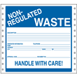 """Non-Regulated Waste Label<br />Handle With Care<br />Vinyl w/perm adhesive<br />6"""" x 6"""", pinfeed, 1,000/bx"""
