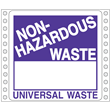 "Non-Haz Universal Waste Label<br />Perm adhesive<br />6"" x 6"", pinfeed, 1,000/bx"