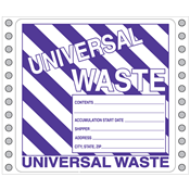 "Universal Waste Label<br />Perm adhesive<br />6"" x 6"", pinfeed, 1,000/bx"