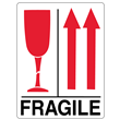 FRAGILE GLASS and UP ARROWS<br />Heavyweight Gloss Paper<br />3 X 4.125 LABEL, 500/roll
