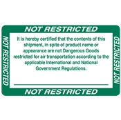 "IATA/D.O.T.<br />NOT RESTRICTED<br />5"" x 3"" Label, 500/roll"