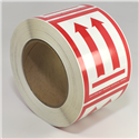 "IATA/D.O.T.<br />Red Up Orientation Arrows<br />3"" x 4.125"" Label, 500/roll"