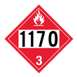 UN 1170 Class 3<br />FLAMMABLE LIQUID<br />4-Digit Placard<br/>Laminated Tagboard, 50/Pack