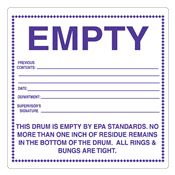 "Empty by EPA Standards<br />PVC-free Poly Label<br />6"" x 6"", 500/roll"