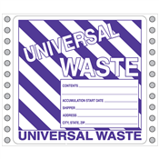"Universal Waste Label <br/>PVC-free Poly w/perm adhesive <br/>6"" x 6"", pinfeed, 1,000/bx"